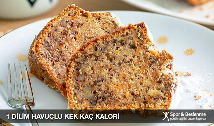 1 dilim havuçlu kek kaç kalori